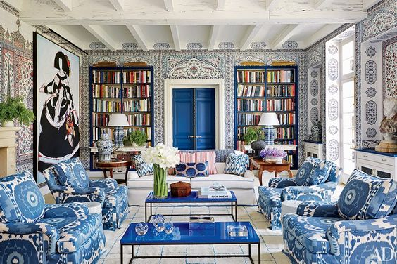 Miles Redd | Featuring Samarkand Ikat in Porcelain, 173102 on the slip-covered chairs | Architectural Digest | August 2014