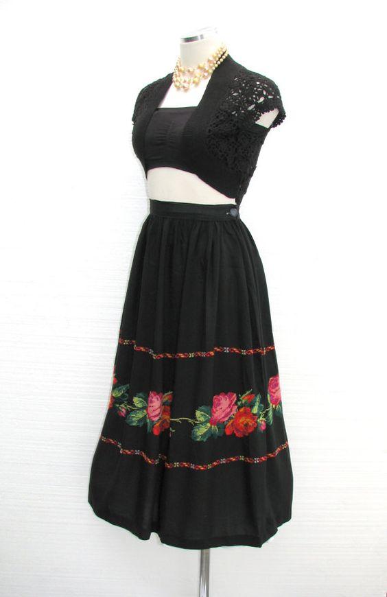 S mexican skirt handmade vintage