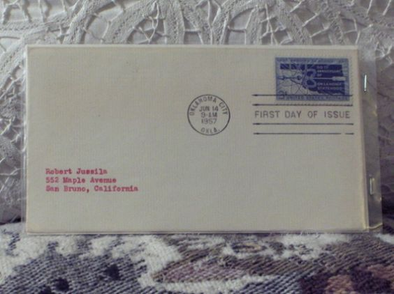 http://ajunkeeshoppe.blogspot.com/  First Day Issue/Cover-Stamp-50th Ann Oklahoma Statehood 1957 8ozP724B4HP1158