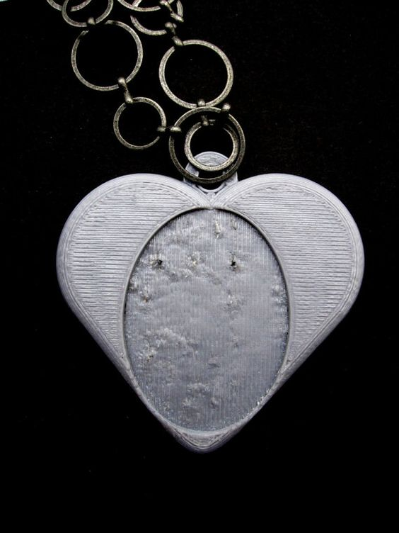 3 Handmade Heart Silver Heart Cameo Settings 40x30 by Untimed, $5.00