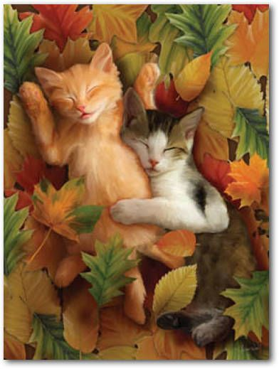 SunsOut 1000 Piece Kittens Asleep in Leaves Jigsaw Puzzle AUTUMN NAP by Thomas Wood: