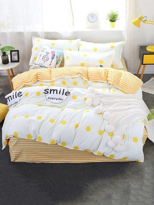 Polka Dot Striped Print Sheet Set Yellow Bedroom Decor Yellow Bedding Yellow Bedroom