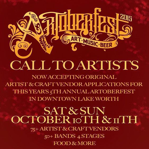 Hope to see all our locals at ARTOBERFEST!! Get in touch with @propagandalakeworth for booking info.  10/10 and 10/11 in #lakeworth #soflo #miami #boca #ftlauderdale #palmbeach #palmbeachcounty #parkland #royalpalm #singerisland #florida #art #artwalk #artist #fun #goodtimes #instagood #heady #food #datenight