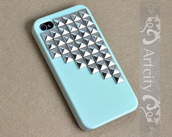 Studded Iphone Case Silver pyramid studs Light by ArtCity2011, $15.99
