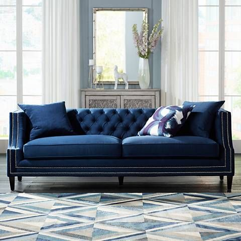 Marilyn 93 Wide Blue Velvet Tufted Upholstered Sofa 20w77