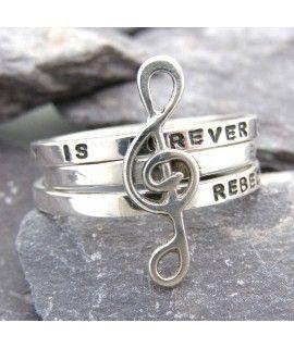 Prata personalizada musicais Empilhando anéis