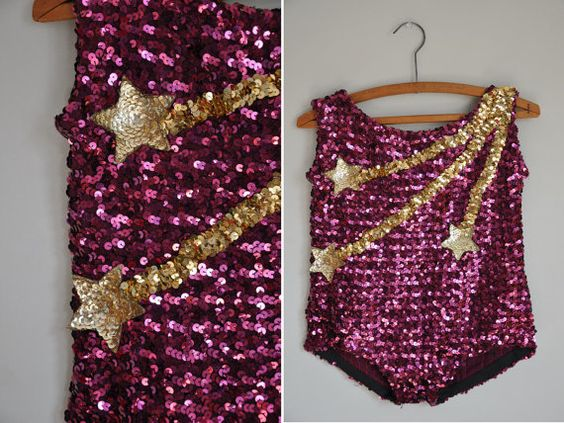 vintage rare showgirl costume / sparkly by simplicityisbliss, $45.00 | What a cute kid's costume or as the seller suggests - cutting off the straps and making it high-waisted tap pants.