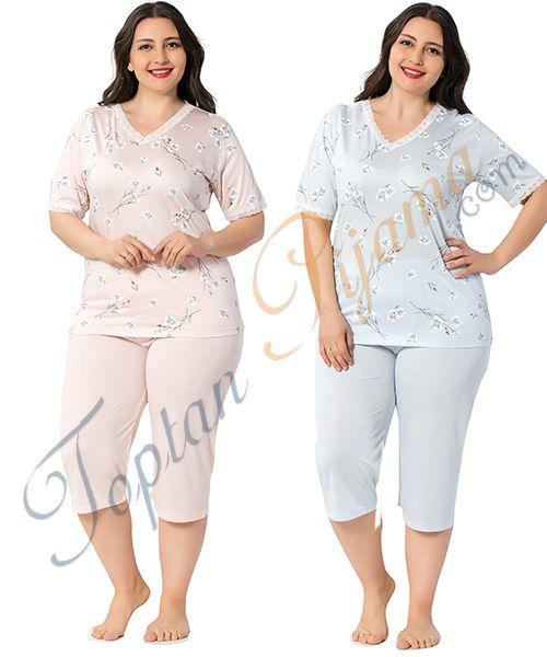 Toptan Bermuda Buyuk Beden Bayan Kaprili Pijama Takimi 2338bb Pijama Kadin Olmak Gecelikler