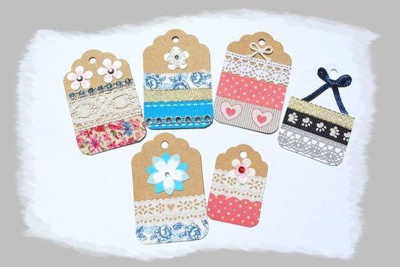 6 étiquettes ou tags pour cadeaux ou scrabooking, dentelles, fleurs, noeuds…