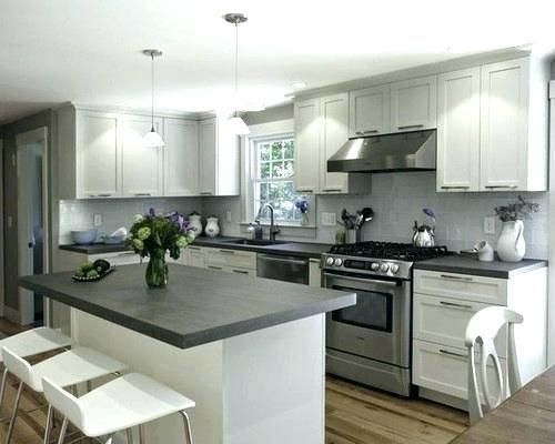 Dark Quartz Countertops White Brown Cabinets With Grey