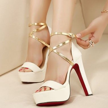 White Black Gold Cross Strappy Red Bottom Ultra High Heels Chunky ...