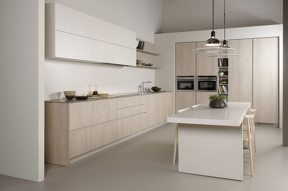 moderne küche kochinsel holz optik beige hochglanz fronten - küche holz modern