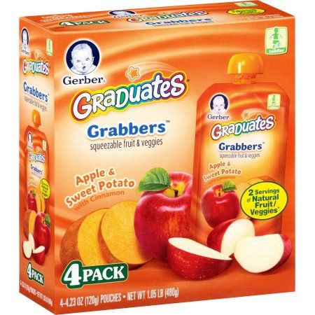 Gerber Graduates Grabbers Squeezable Fruit and Veggies Apple, Sweet Potato with Cinnamon, 4.23 Ounce Pouches, 4 Count