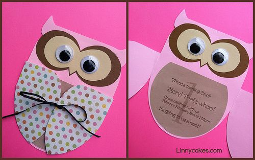 Owl Birthday Invitations from Linnycakes.com