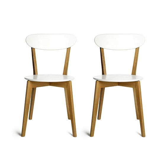 Stuhl 2 Stück Eiche weiß ca. L:44,5 x B:54 x H:79 cm