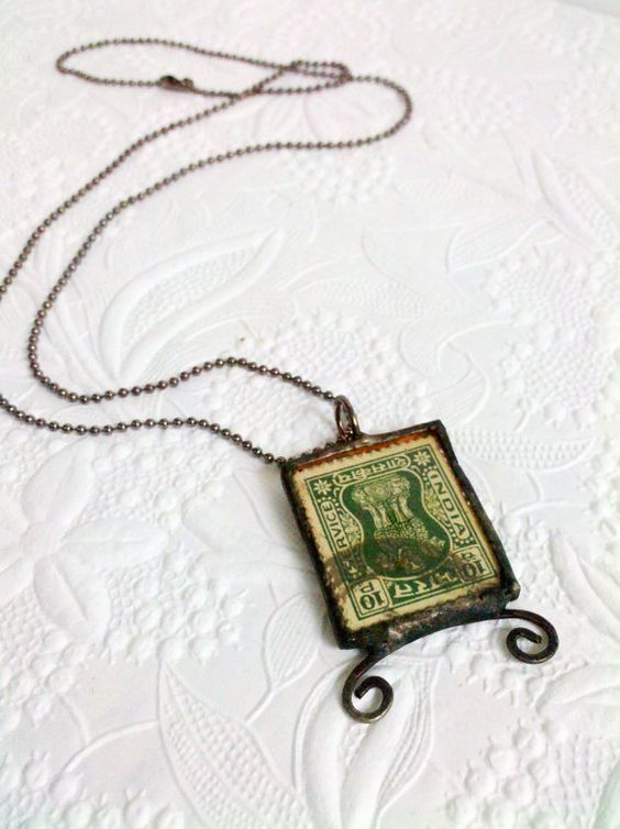 Vintage Stamp Necklace Whimsical Stamp Necklace by Mystarrrs