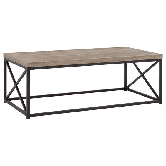 Wood Veneer and Metal Coffee Table