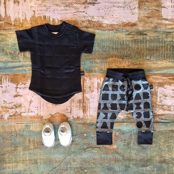 Huxbaby organic quilted tee, drop crotch pants & Converse baby Chucks. Shop…
