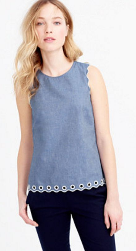 Chambray Scalloped Top with Eyelet Details