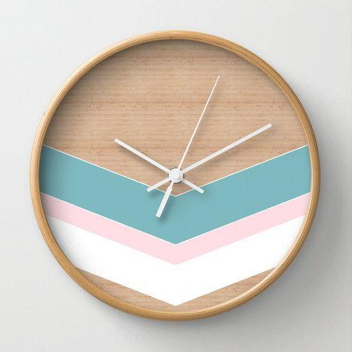 Geometric wall clock home decor ornament by MonochromeStudio