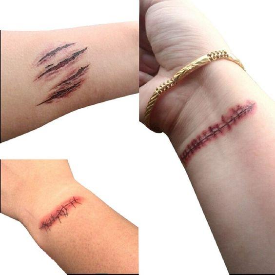 Vente chaude Halloween Zombie Cicatrices Tatouage Avec Faux Croûte Sanglante…