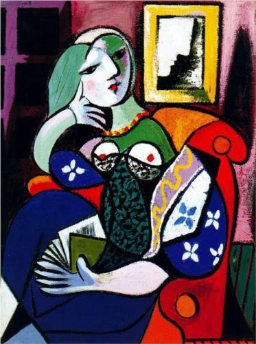 Woman with book - Pablo Picasso, Naive Art(Primitivism). 1931. Oil on canvas, 130.5 x 97.8 cm. @ Norton Simon Museum
