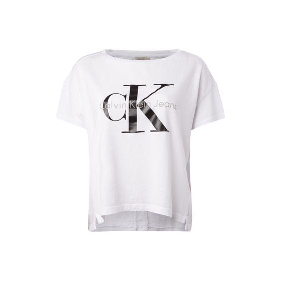 Calvin Klein Jeans Crop-Shirt mit Logo-Print für Damen - Damen Crop-Shirt von Calvin Klein Jeans, Reine Baumwolle, Weiter, gerippter Rundhalsausschnitt, Leicht verlängerte Rückseite, Kurze Seitenschlitze, Teilungsnähte auf der Rückseite, Großer Logo-Print, Rückenlänge bei Größe MD: 50 cm