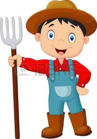 jardinier: Cartoon jeune agriculteur râteau tenant
