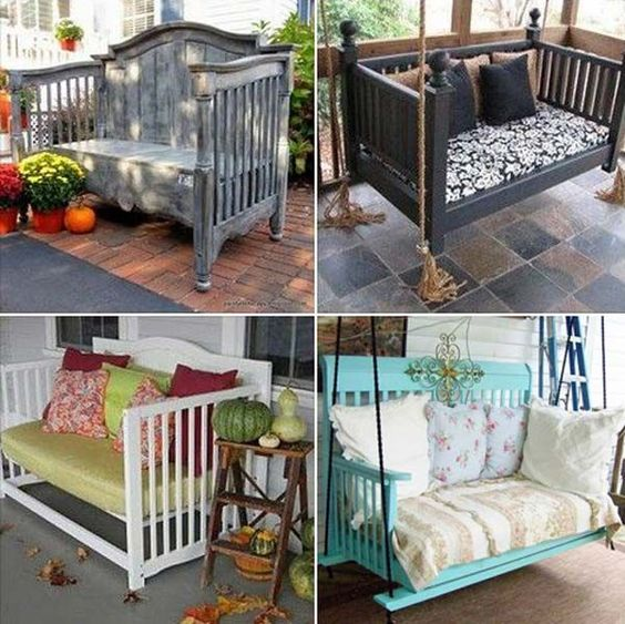 Reuse the old cribs to make awesome benches or swing bed   Awesome Old Furniture Repurposing Ideas for Your Yard and Garden