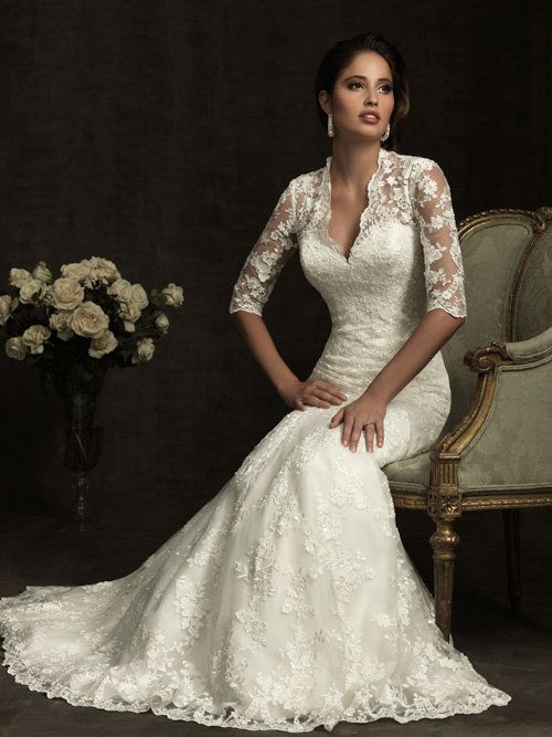 Ivory Lace Sweetheart Illusion 3/4 Sleeves Wedding Gown - Unique ...