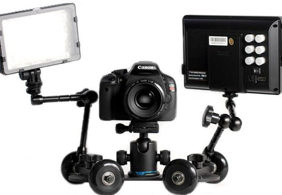 Take your camera for a spin with the Revolve Camera Dolly- Get those smooth video shots with the Revolve dolly an inexpensive option for the low budget photohound.    http://www.digitaltrends.com/photography/take-your-camera-for-a-spin-with-the-revolve-camera-dolly/