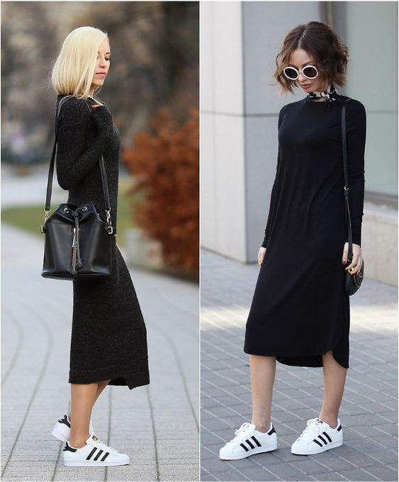 Des baskets Superstar avec une robe mi-longue noire pour un look sport chic >> http://www.taaora.fr/blog/post/avec-quoi-porter-baskets-superstar-adidas-tenue-chic-casual-robe-longue #adidas #superstar #streetstyle: