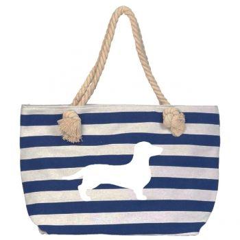 Dackelparadies - Strandtasche/Shopper 2  mit schmalen blau/weißen Streifen