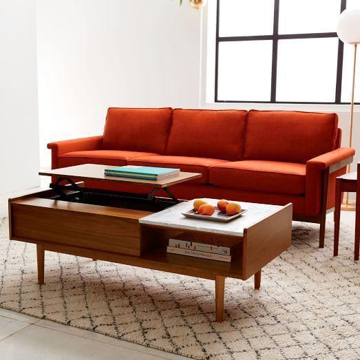 West Elm Mid Century Pop Up Storage Coffee Table Walnut Coffee Table With Storage Mid Century Coffee Table Sofa Wood Frame