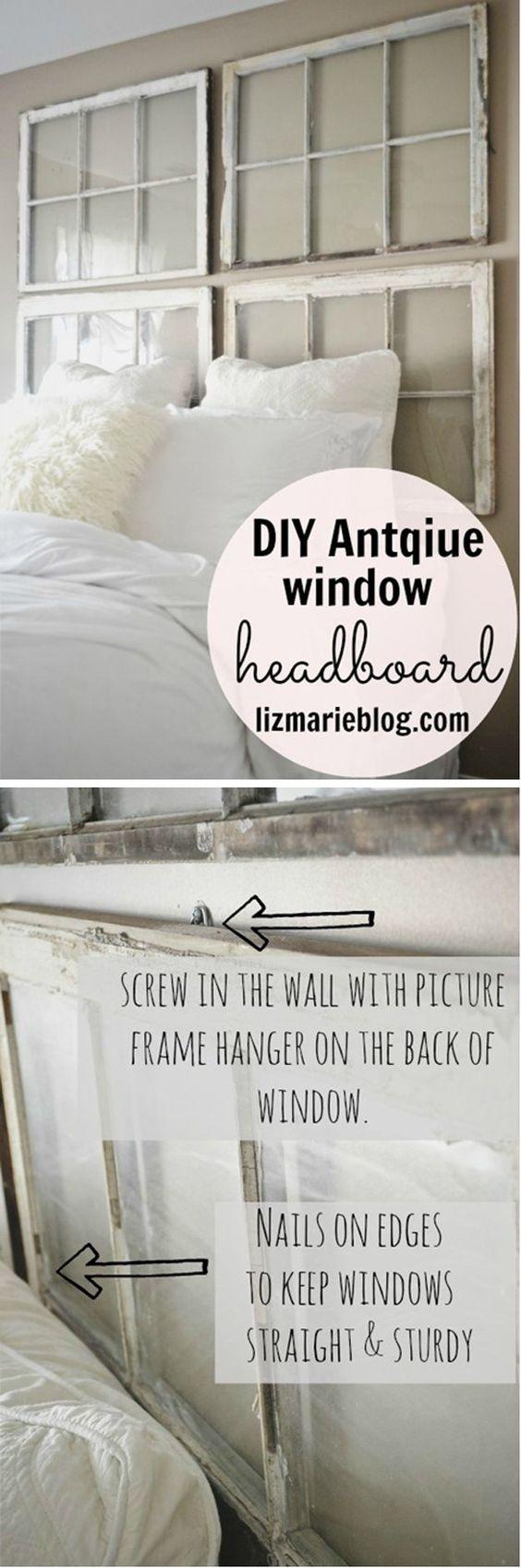 Window Headboard Tutorial | DIY Antique Window Headboard by DIY Ready at http://diyready.com/diy-headboards-for-every-home/