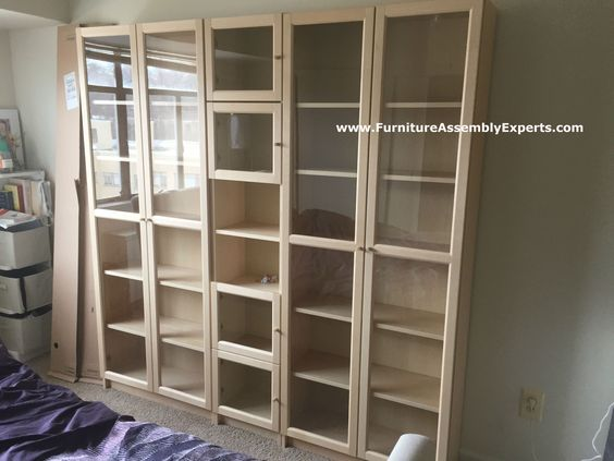 ikea billy oxberg bookcase assembled in south laurel md for a customer moving in his apartment. Black Bedroom Furniture Sets. Home Design Ideas