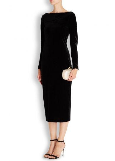 Black velvet midi dress - Women