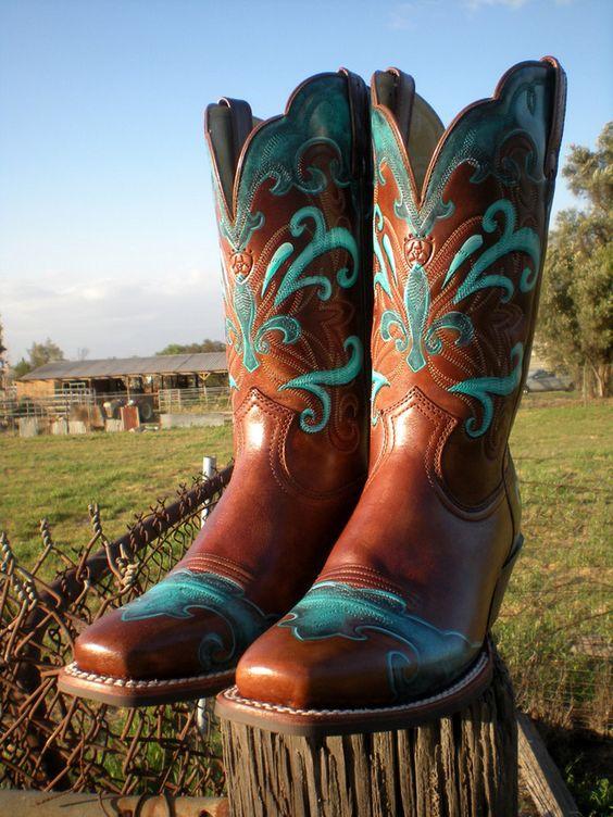 Fleurs & swirls custom painted Ariat cowboy boots by Hopscotch ...