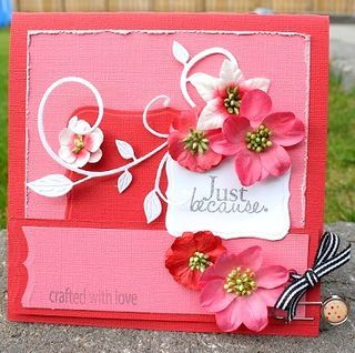 "Here is another beautiful card from Petaloo DT member Helena Johansson.  Although this card was created for our ""Back to School"" Blog Hop, it would be perfect for Valentines Day, Mothers Day, or any other special occassion too!"