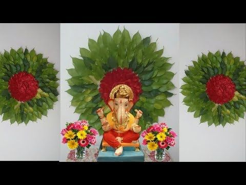 How To Make Big Flower With Leaves For Ganpati Decoration Eco Friendly Ganpati D Eco Friendly Ganpati Decoration Ganpati Decoration At Home Flower Decorations