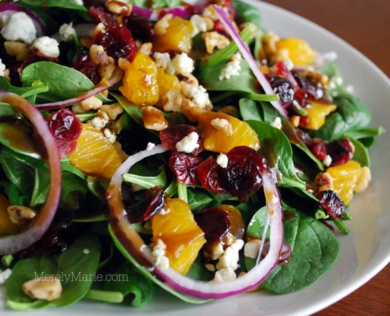 Spinach and Mandarin Orange Salad recipe. Protein: gorgonzola cheese.  You know what I like--add chickpeas!
