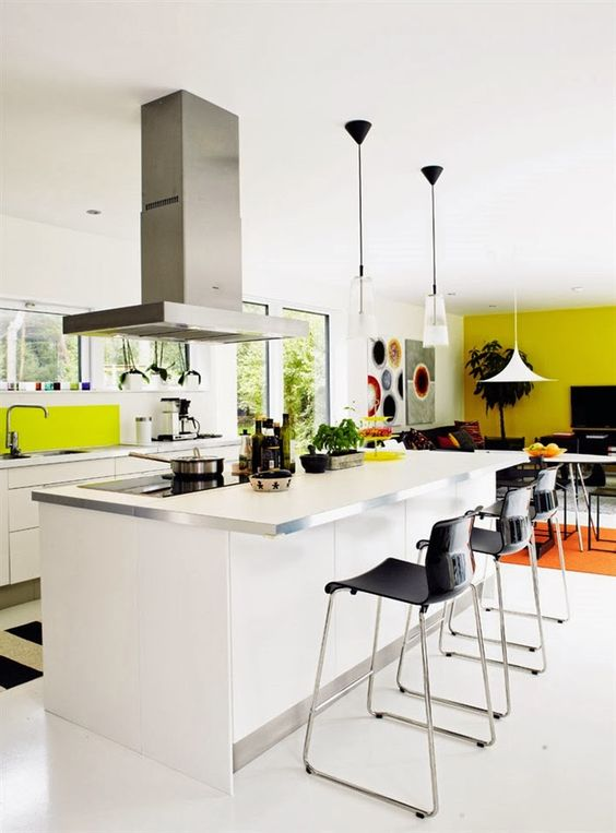 white modern open kitchen with stainless hood pendant lights and pops of bright yellow beautiful modern kitchen lighting pendants yellow