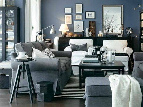 Beautiful Blue And Grey Living Room Blue Gray White Black Ikea Living Room I Think Exact Color Of Ikea Living Room Living Room Grey Blue Grey Living Room