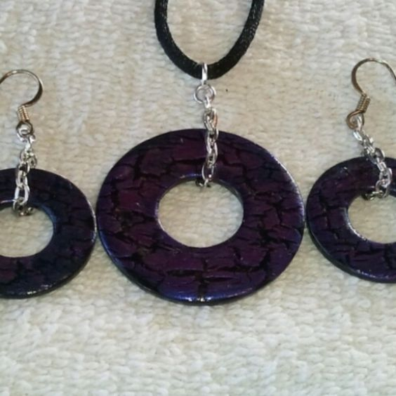 @KyDanJenjewelry Black #wearableindustrialart necklace & earring set with purple crackle. Hand painted. Length is 26in on black cord. from KyDanJenjewelry for $25.00 on Square Market
