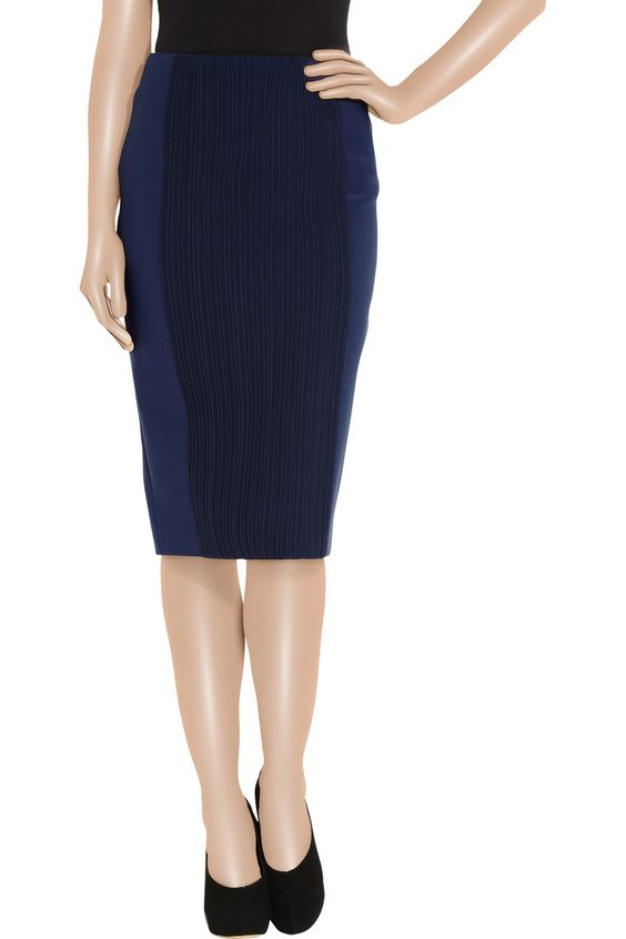 Georgette and stretch-twill pencil skirt by Stella McCartney