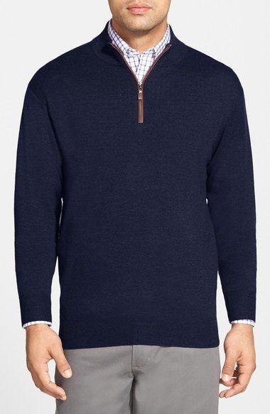 Peter Millar Leather Trim Quarter Zip Pullover Sweater. #petermillar #cloth #