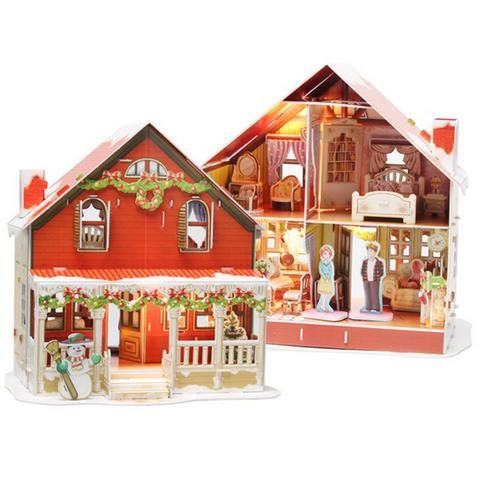 2Pcs 1//24 Scale Wooden DIY Project Dollhouse Kits Hands Craft House Toys