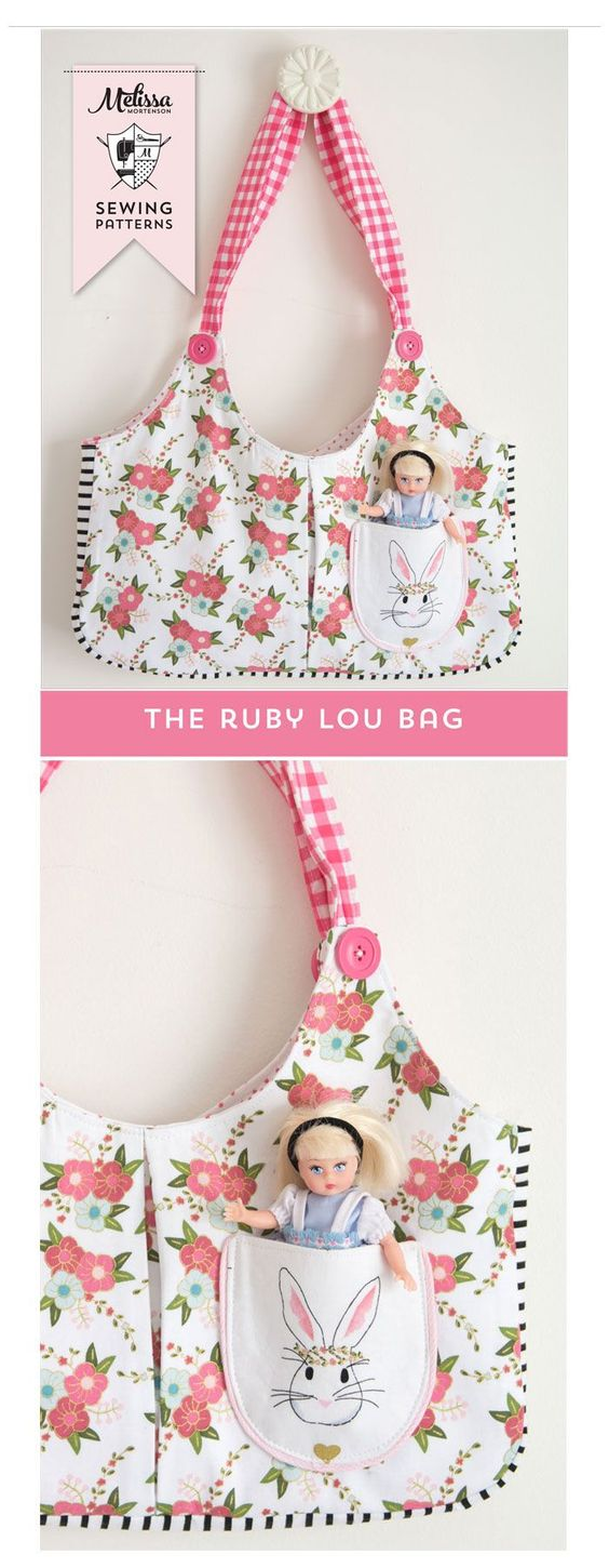 Sewing Pattern for Ruby Lou Bag, a cute tote bag pattern for little girls. Love the front pocket!