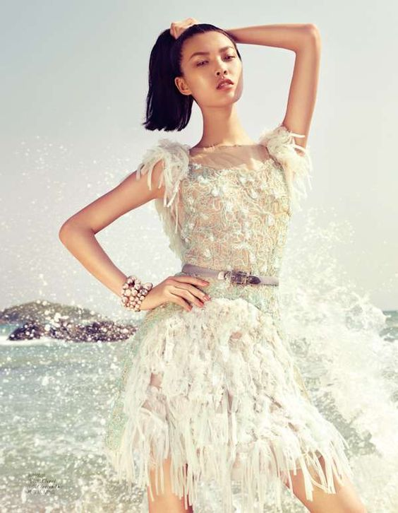 Billowing Beach Gowns - The Vogue China 'Grace the Summer' Editorial Stars an Elegant Tian Yi