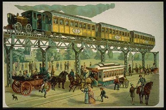 New York City elevated railway as it was in the late 1800s